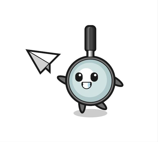 Personnage de dessin animé en forme de loupe jetant un avion en papier, design de style mignon pour t-shirt, autocollant, élément de logo