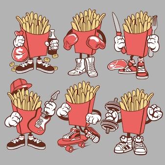 Personnage de dessin animé de frites