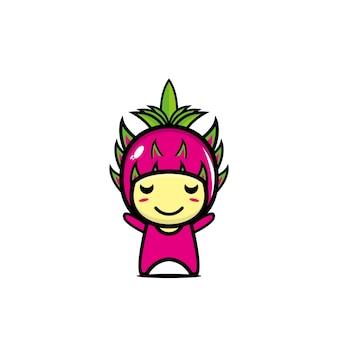 Personnage de dessin animé de fruit du dragon mignon personnage de dessin animé illustration design simple style plat