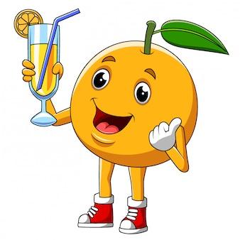 Personnage de dessin animé d'un fruit orange mignon d'illustration