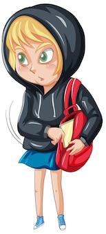 Personnage de dessin animé de gangster adolescent