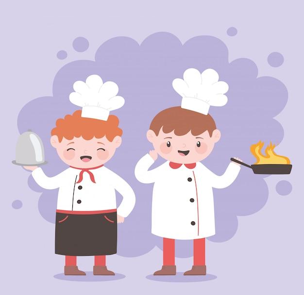 Personnage de dessin animé de garçon de chefs avec poêle et plateau frit