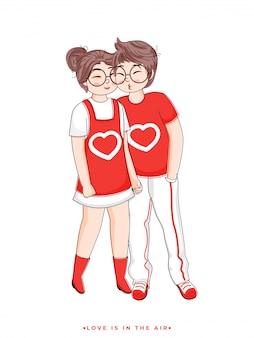 Personnage de dessin animé de garçon embrassant sa petite amie