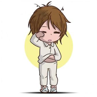 Personnage de dessin animé garçon endormi
