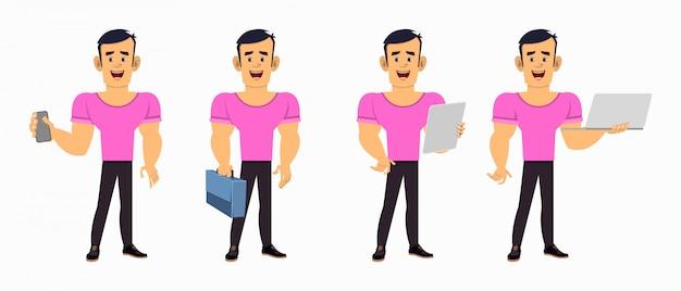 Personnage de dessin animé de garçon fort dans des poses différentes