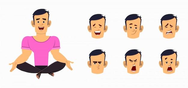 Personnage de dessin animé de garçon fort faisant du yoga ou relaxant la méditation. caractère d'homme d'affaires avec différents types d'expression faciale