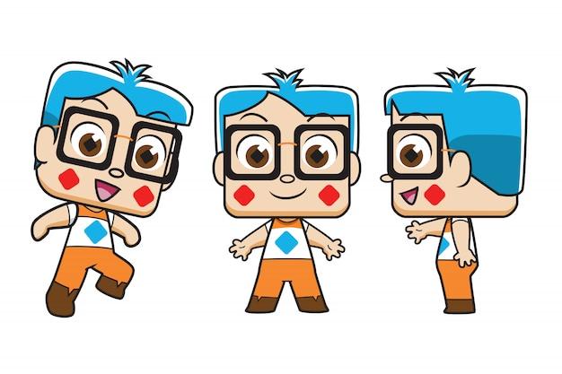 Personnage de dessin animé de garçon intelligent.