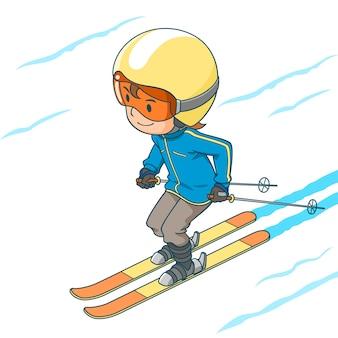 Personnage de dessin animé de garçon mignon jouant au ski.