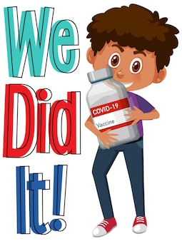 Personnage de dessin animé d'un garçon tenant un flacon de vaccin