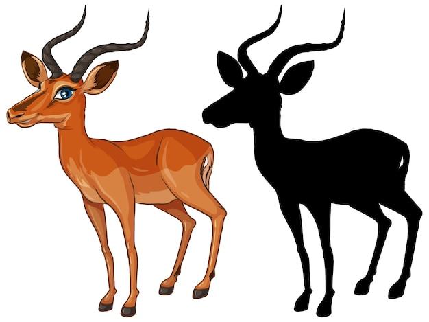 Personnage de dessin animé de gazelle et sa silhouette sur fond blanc