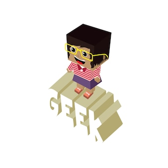 Personnage de dessin animé geek féminin isométrique