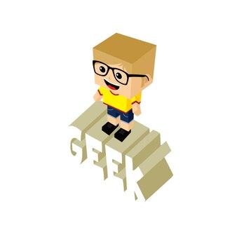 Personnage de dessin animé geek isométrique