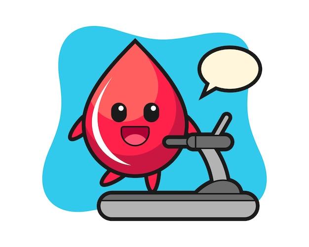 Personnage de dessin animé de goutte de sang marchant sur le tapis roulant, style mignon, autocollant, élément de logo