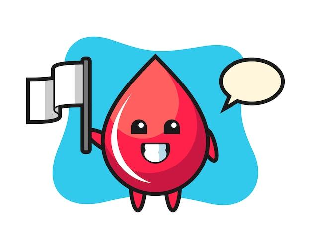 Personnage de dessin animé de goutte de sang tenant un drapeau, style mignon, autocollant, élément de logo