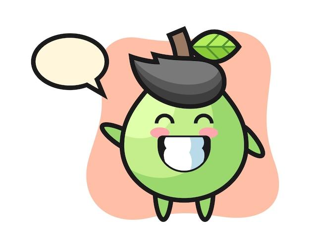 Personnage de dessin animé de goyave faisant le geste de la main de vague, style mignon pour t-shirt, autocollant, élément de logo