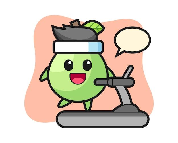 Personnage de dessin animé de goyave marchant sur le tapis roulant, style mignon pour t-shirt, autocollant, élément de logo