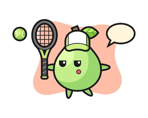 Personnage de dessin animé de goyave en tant que joueur de tennis, style mignon pour t-shirt, autocollant, élément de logo