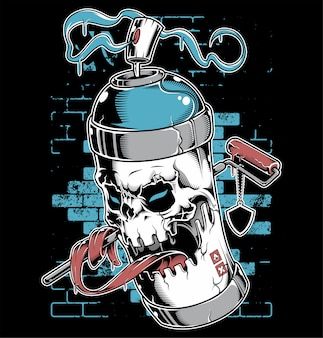 Personnage de dessin animé graffiti visage peinture de pulvérisation