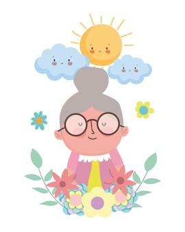 Personnage de dessin animé de grand-mère