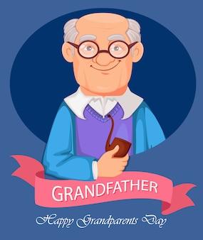 Personnage de dessin animé de grand-père gai