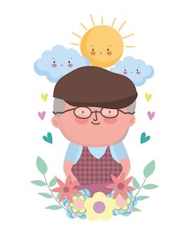 Personnage de dessin animé de grand-père
