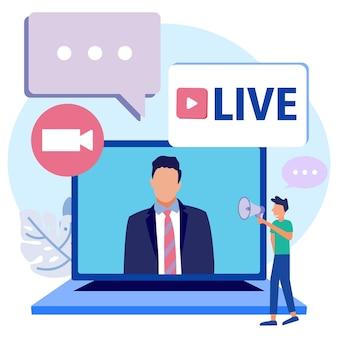 Personnage de dessin animé graphique de vecteur d'illustration de l'actualité en streaming en direct