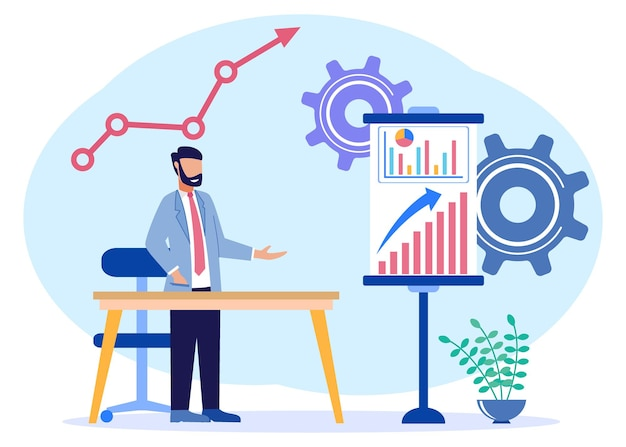 Personnage de dessin animé graphique de vecteur d'illustration de l'analyse commerciale