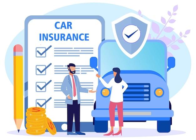 Personnage de dessin animé graphique de vecteur d'illustration d'assurance automobile