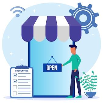 Personnage de dessin animé graphique de vecteur d'illustration de la boutique ouverte