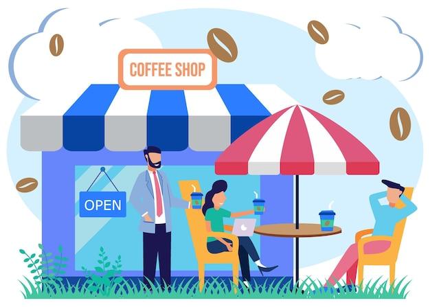 Personnage de dessin animé graphique de vecteur d'illustration de café