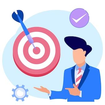 Personnage de dessin animé graphique de vecteur d'illustration de cible d'affaires
