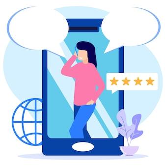 Personnage de dessin animé graphique de vecteur d'illustration de la communication par téléphone portable