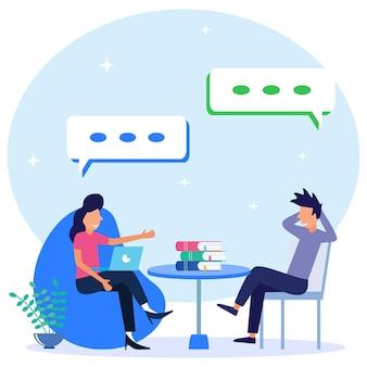 Personnage de dessin animé graphique de vecteur d'illustration de consultation de psychologue