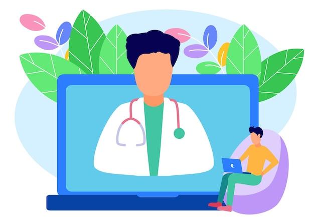 Personnage de dessin animé graphique de vecteur d'illustration de consultation de santé en ligne