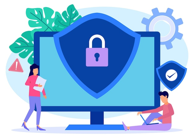 Personnage de dessin animé graphique de vecteur d'illustration de la cybersécurité