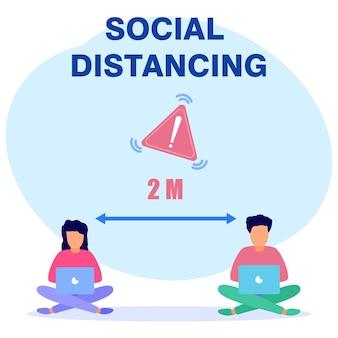 Personnage de dessin animé graphique de vecteur d'illustration de la distanciation sociale