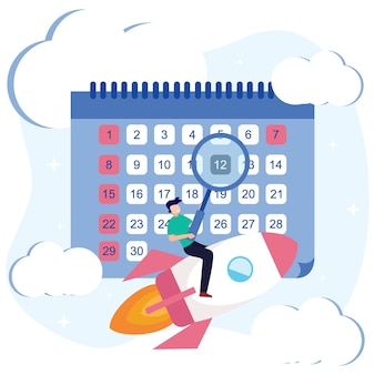 Personnage de dessin animé graphique de vecteur d'illustration du calendrier d'affaires