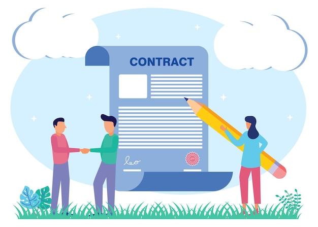 Personnage de dessin animé graphique de vecteur d'illustration du contrat commercial