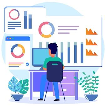Personnage de dessin animé graphique de vecteur d'illustration du diagramme d'affaires