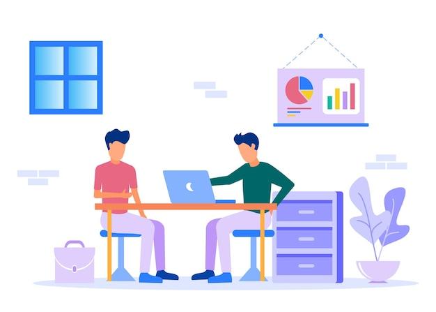 Personnage de dessin animé graphique de vecteur d'illustration du partenaire commercial