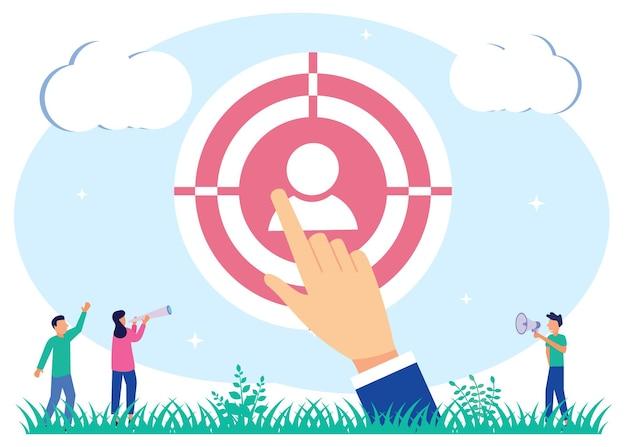 Personnage de dessin animé graphique de vecteur d'illustration du recrutement d'entreprise