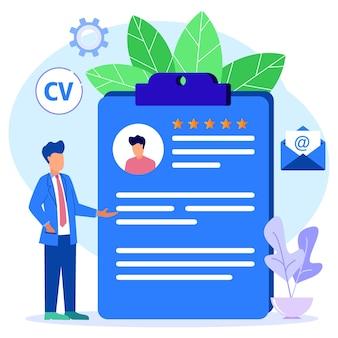 Personnage de dessin animé graphique de vecteur d'illustration du recrutement en ligne