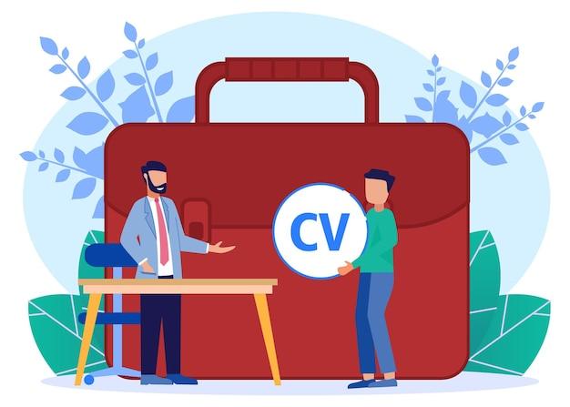 Personnage de dessin animé graphique de vecteur d'illustration du recrutement