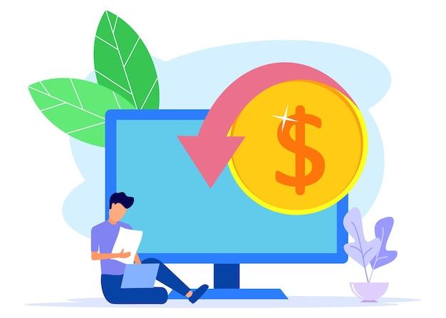 Personnage de dessin animé graphique de vecteur d'illustration du revenu d'entreprise