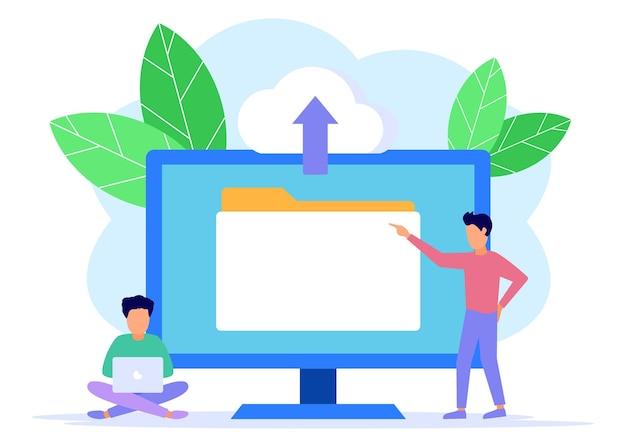Personnage de dessin animé graphique de vecteur d'illustration du stockage de données