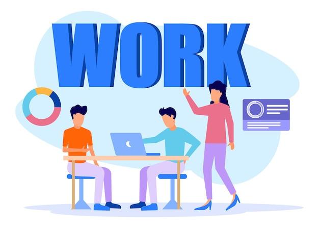 Personnage de dessin animé graphique de vecteur d'illustration du travail d'entreprise