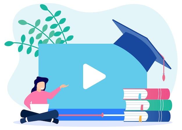 Personnage de dessin animé graphique de vecteur d'illustration de l'éducation en ligne