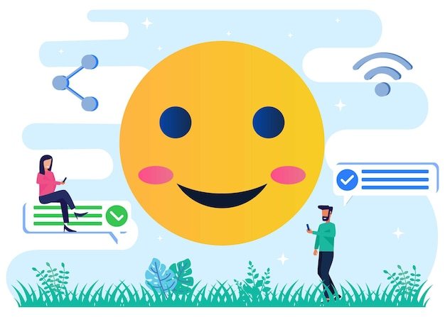 Personnage de dessin animé graphique de vecteur d'illustration des emojis de médias sociaux