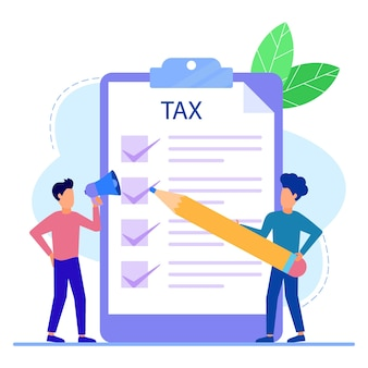 Personnage de dessin animé graphique de vecteur d'illustration de la facture d'impôt