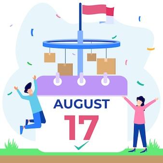 Personnage de dessin animé graphique de vecteur d'illustration de la fête de l'indépendance de l'indonésie